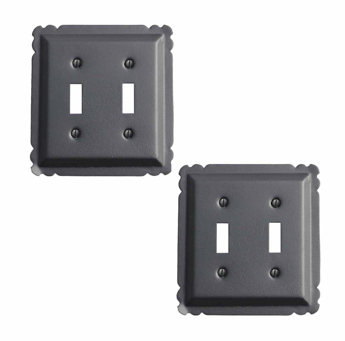 2 Switchplate Black Steel Double Toggle | Renovator's Supply