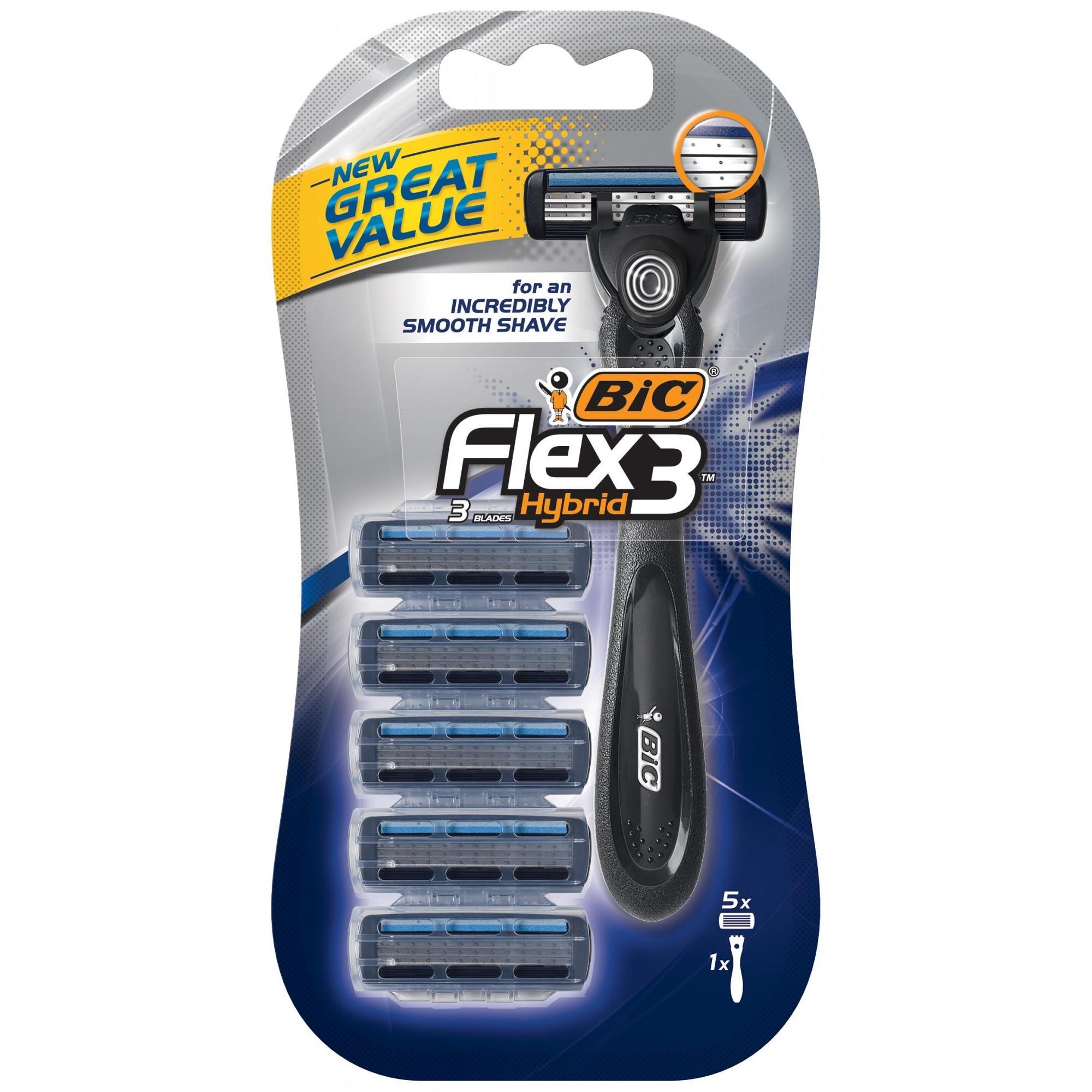 BIC Flex 3 Hybrid Men's Disposable Razor, 1 Handle, 5 Cartridges