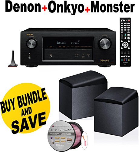 Denon AVRX3200W 7.2 Channel Full 4K Ultra HD A V Receiver with Bluetooth and Wi-Fi + Onkyo SKH410 + Monster Cable - by Denon