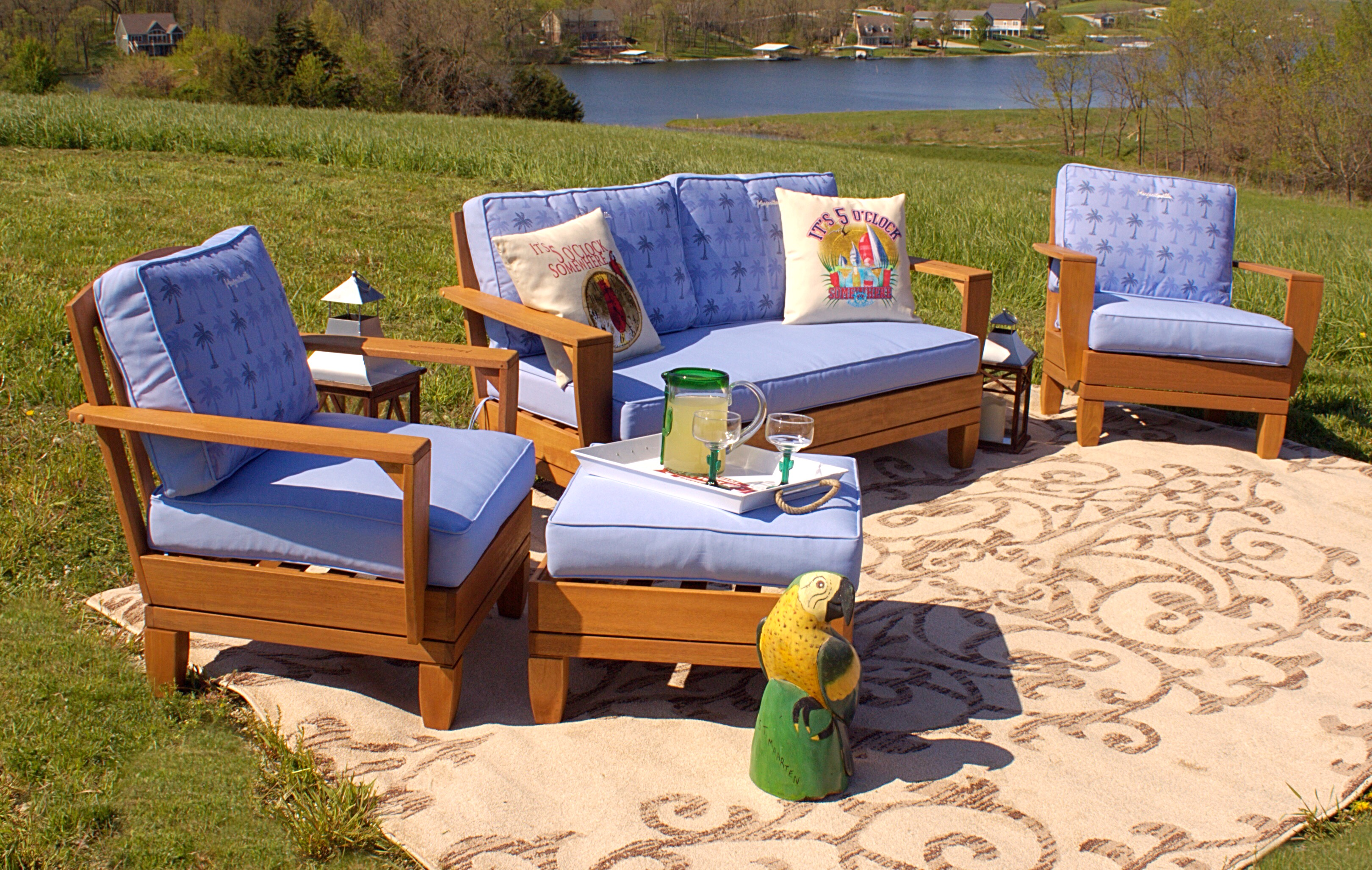 5pc Jimmy Buffet Margaritaville Patio Furniture Conversation Set With Reversible Cushions Blue