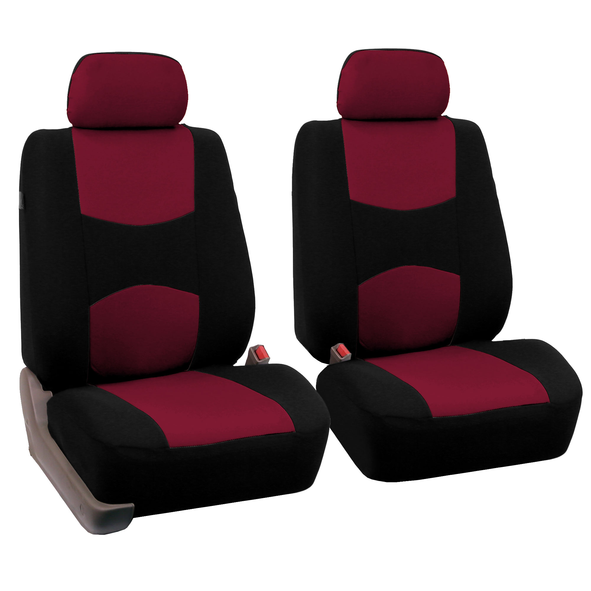 Fh Group Universal Flat Cloth Fabric Full Set Car Seat Cover Burgundy And Black