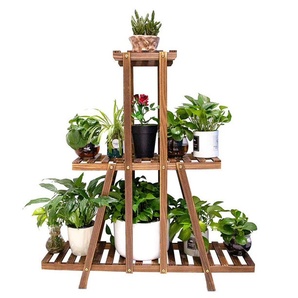Hongyi 3 Tier Wood Plant Stand 37inch Tall Large Multi Tiered Plant Shelf For Indoor Outdoor Flower Pots Stand Walmart Com Walmart Com