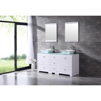 Bathroom Double 60? Tempered Glass Vanity Top Cabinet Solid Wood w/Mirror Faucet