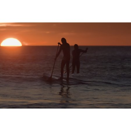 Wakeboarding At Sunset Los Lances Beach Tarifa Spain Canvas Art - Ben Welsh Design Pics (19 x 12)
