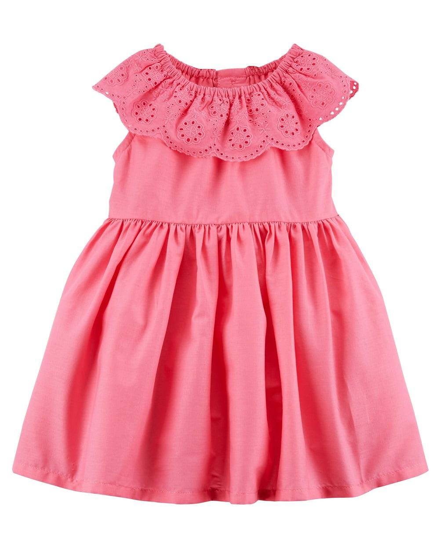 Carter's Baby Girls' Lace Eyelet Dress, Pink, Newborn