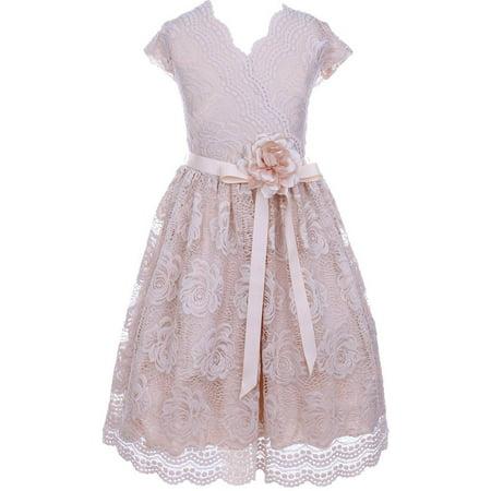 383011e799 Big Girl Cap Sleeve V Neck Flower Border Stretch Lace Corsage Belt Flower  Girl Dress (20JK66S) Champagne 10