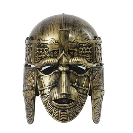 Gold Roman Spartan Sutton Hoo Helmet Face Mask Medieval Costume Crusader Knight (Medieval Knight Mask)