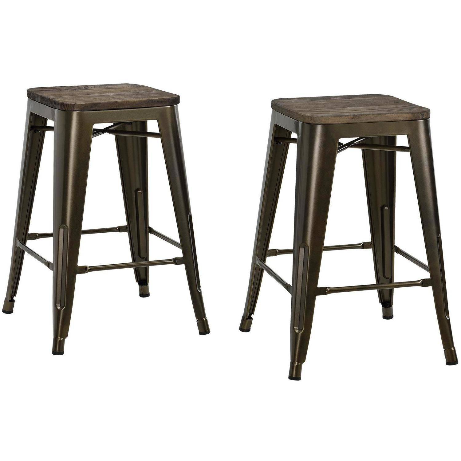 Dhp fusion 24 metal backless counter stool with wood seat set of 2 multiple colors walmart com