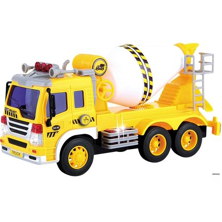 Memtes® Friction Powered Cement Mixer Truck Toy with Lights and Sound for - Mixer Truck