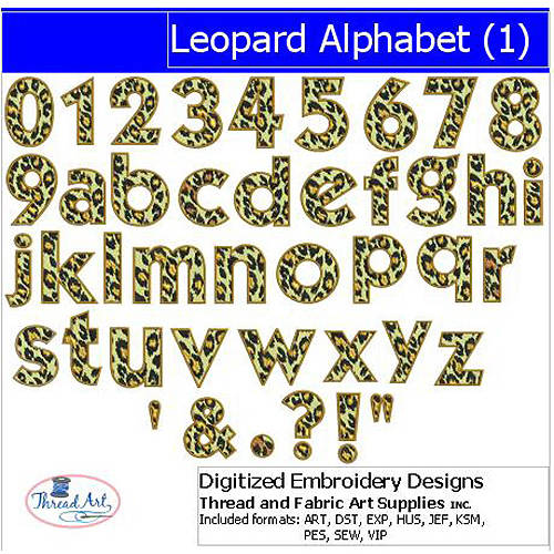 ThreadArt Machine Embroidery Designs Leopard Alphabet(1) CD