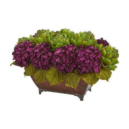 Natural Metal - Nearly Natural Hydrangea & Artichokes Artificial Arrangement in Metal Planter