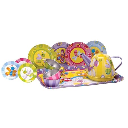 Summer Bugs Tin Tea Set, Summer bugs are welcome to this tea party; entertain your friends with this beautifully decorated, classic tin tea set By Schylling