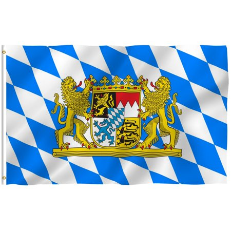 - ANLEY [Fly Breeze] 3x5 Foot Bavaria with Lions Flag - Vivid Color and UV Fade Resistant - Canvas Header and Double Stitched - Bavarian Lion Crest Flags Polyester with Brass Grommets