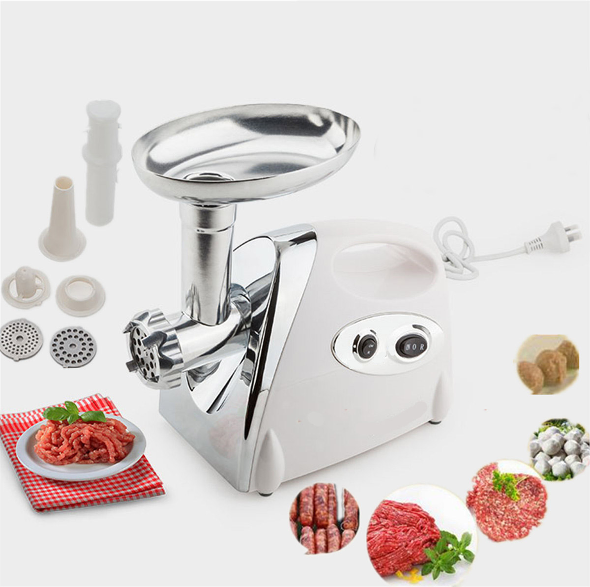 Zimtown New 1300W Electric Meat Grinder Sausage Stuffer Maker Stainless Cutter Home Cooking Tool