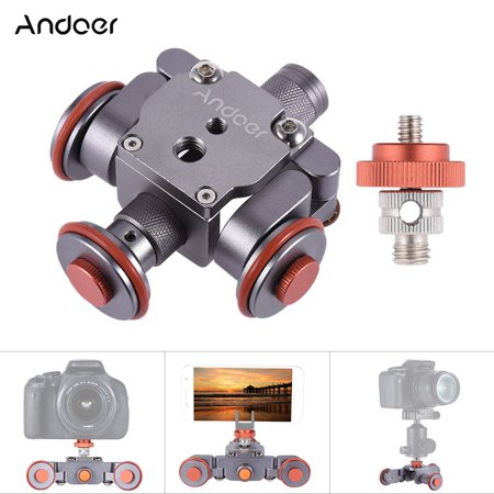 Andoer Electric Motorized 3-Wheel Video Pulley Car Dolly Rolling Slider Skater for Canon Nikon Sony Camera Camcorder for 7/7plus/6/6s Huawei