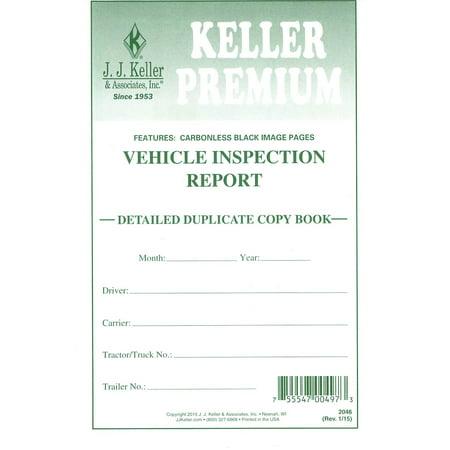 J J  Keller 2046 (146B) Detailed Driver's Vehicle Inspection Report, 2-Ply,  Carbonless - 25 Books