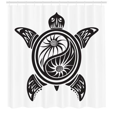 Turtle Shower Curtain, Ying Yang Symbol Inspired Ornamental Design on the Shell of Terrapin Animal, Fabric Bathroom Set with Hooks, 69W X 70L Inches, Black and White, by Ambesonne