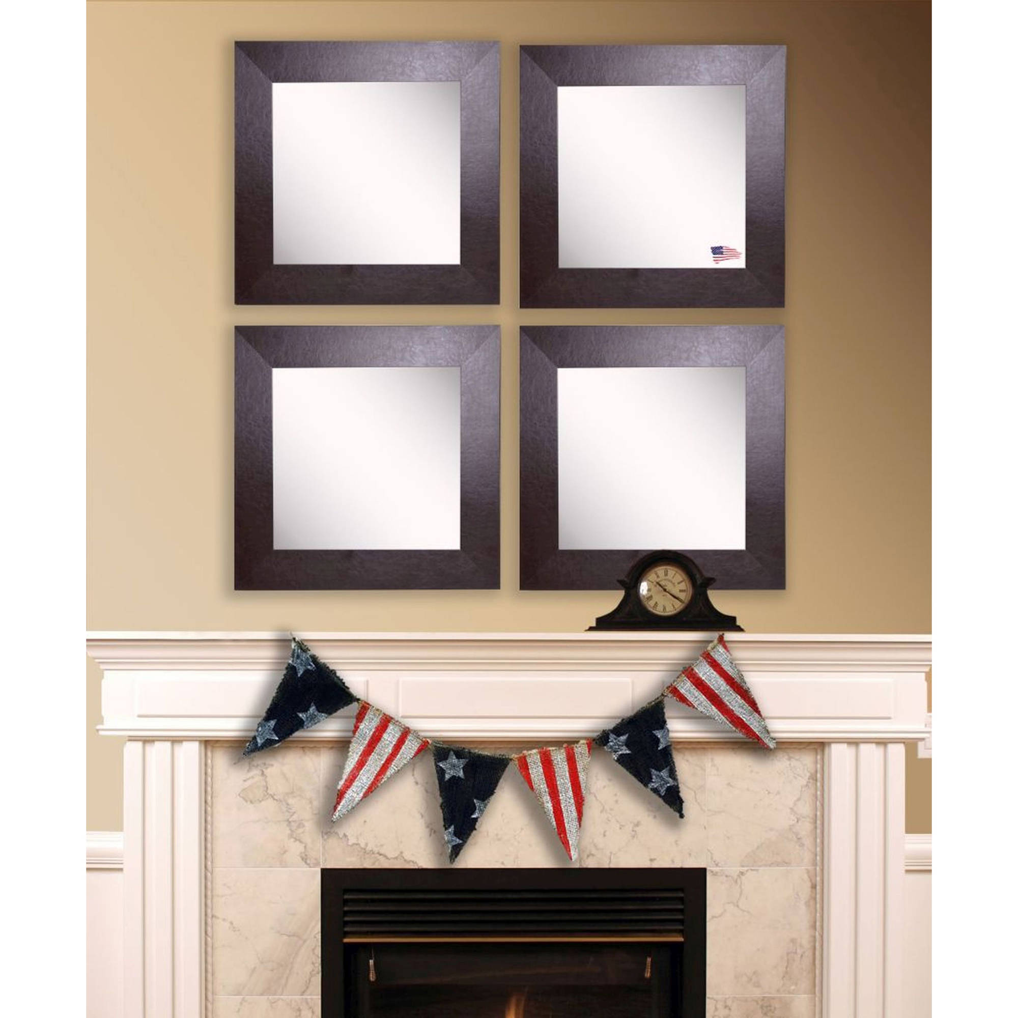 Rayne Glossy White Square Wall Mirror, Set of 4