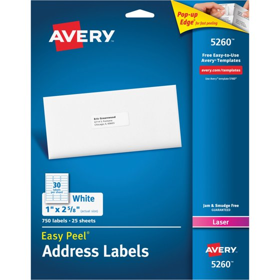 Averyr Easy Peelr Address Labels For Laser Printers 5260 1 X 2