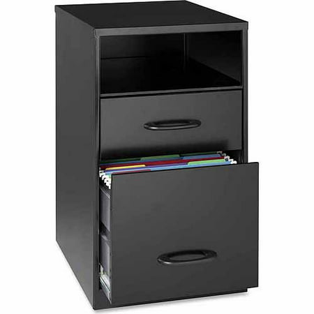 Lorell 2 Drawers Vertical Steel Filing Cabinet, Black (Mayline Vertical File Cabinet)