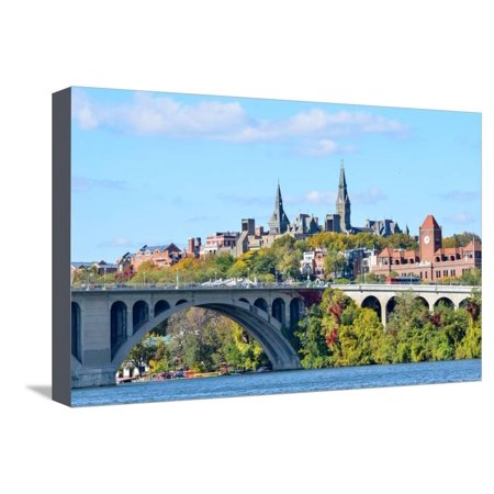 Georgetown Ken - Washington Dc, a View from Georgetown and Key Bridge in Autumn Stretched Canvas Print Wall Art By Orhan