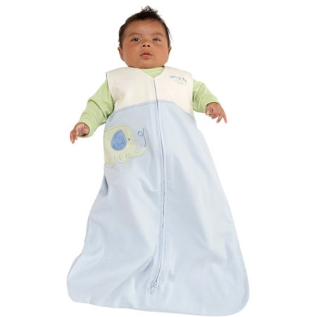 Halo - SleepSack Wearable Cotton Blanket, Blue Elephant Applique, Medium