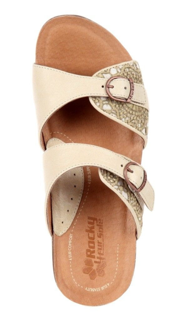 4EurSole Casual Sandals Womens Golden Day Low Wedge Ivory RKH172