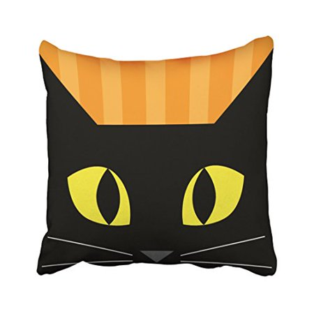WinHome Cute Abstract Popular Halloween Black Cat Head Polyester 18 x 18 Inch Square Throw Pillow Covers With Hidden Zipper Home Sofa Cushion Decorative Pillowcases - Abstract Halloween