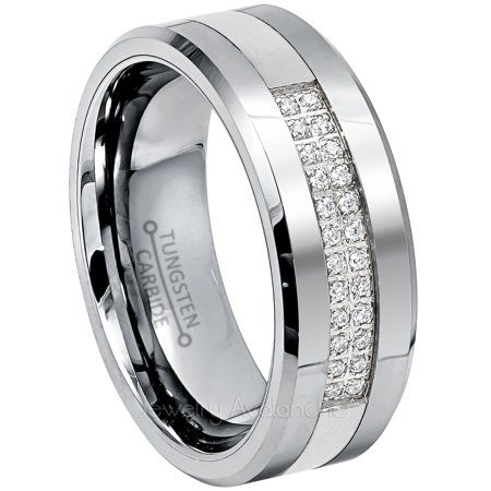 Tungsten Wedding Ring - Band for Mens 8mm Gunmetal Tungsten Ring CZ Accented - Polished Low-Beveled Edge Comfort Fit Tungsten Carbide Ring - TN774s7