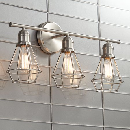 360 Lighting Modern Industrial Wall Light Brushed Nickel Hardwired 24