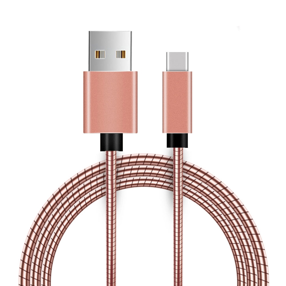 USB Type C Cable, USB Type C Data Sync and Fast Charging Cable Quick Data Transfer Metal Snake Cord with Aluminium Connector Design (40 inches) - Rose Gold