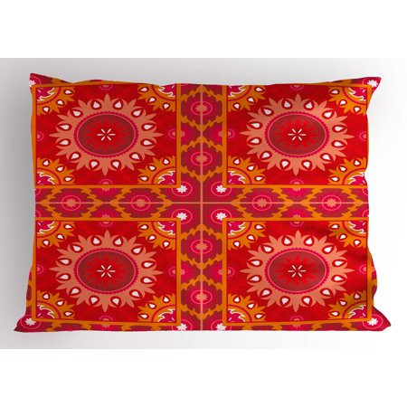 Red Mandala Pillow Sham Artistic Oriental Frames Squares with Asian ...