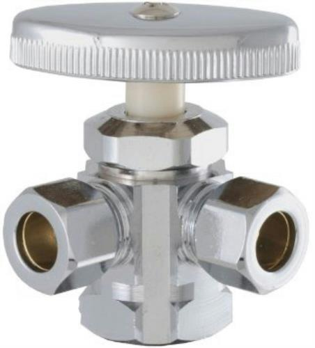 Ace Dual Outlet Shut-Off Valve, Chrome, #45889