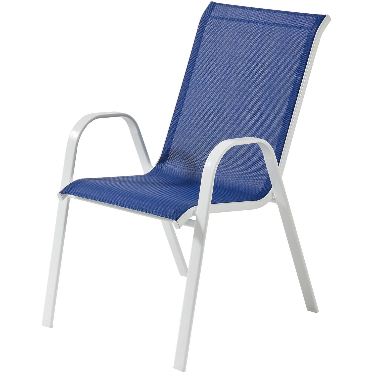 High Quality Mainstays Heritage Park Stacking Sling Chair, Royal Blue