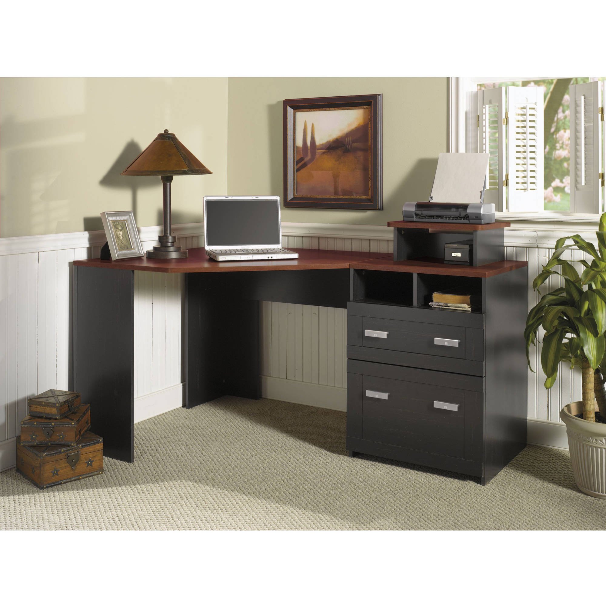 corner computer desk office furniture dorm studio reversible