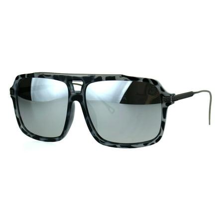 Mens Hip Hop Celebrity Rectangular Plastic Racer Aviator Sunglasses Grey Tortoise (Tortoise Shell Ray Bans Aviator)