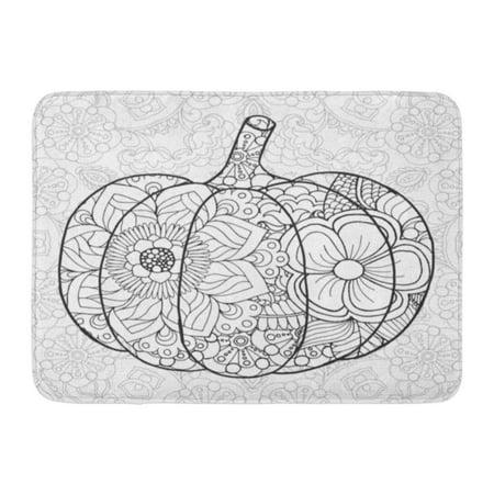 SIDONKU Zentangle Pumpkin Black White Traditional Symbol of Thanksgiving Halloween Autumn Sketch for Colouring Doormat Floor Rug Bath Mat 23.6x15.7 inch - Level 1 Of 100 Floors Halloween