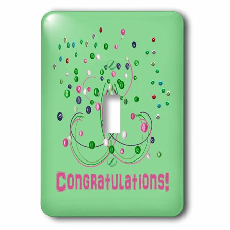 - 3dRose Abstract with Balls and Curved Lines, Green and Pink, Congratulations, 2 Plug Outlet Cover