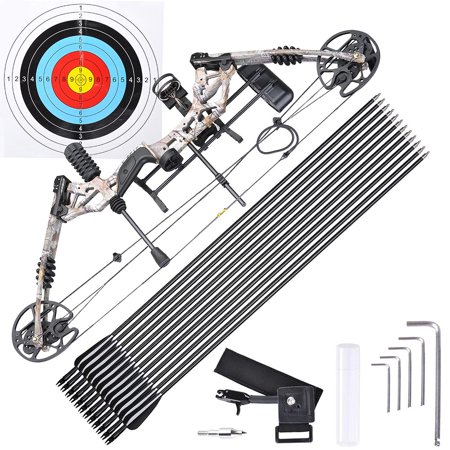 Pro Compound Right Hand Bow Kit w/ 12pcs Carbon Arrow Adjustable 20 to 70lbs Archery Set Camo - Bow & Arrow Set