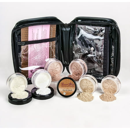 Mineral Makeup XXL KIT w/ COSMETIC CASE Full Size Set Sheer Bare Skin Powder Cover (Pink (Best Contour Kit For Brown Skin)