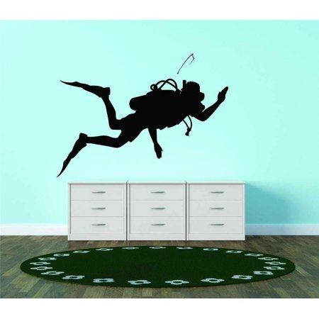 Custom Wall Decal Silhouette Scuba Diving Diver Snorkel Water Sport Vinyl Wall Vinyl Decor -
