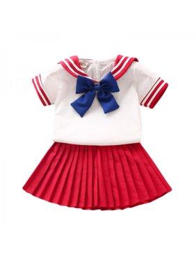 Toddler Kid Girls Uniform Sailor Navy Bowtie T Shirt Tee Tops + Pleated Skirt Set
