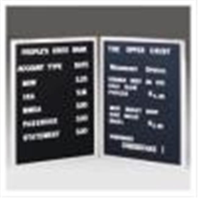 Ghent CL2436-BK 24 in. x 36 in. Open Face Alum Frame Changeable Letterbd Includes Set of Set of .75 in. Gothic Font Letters