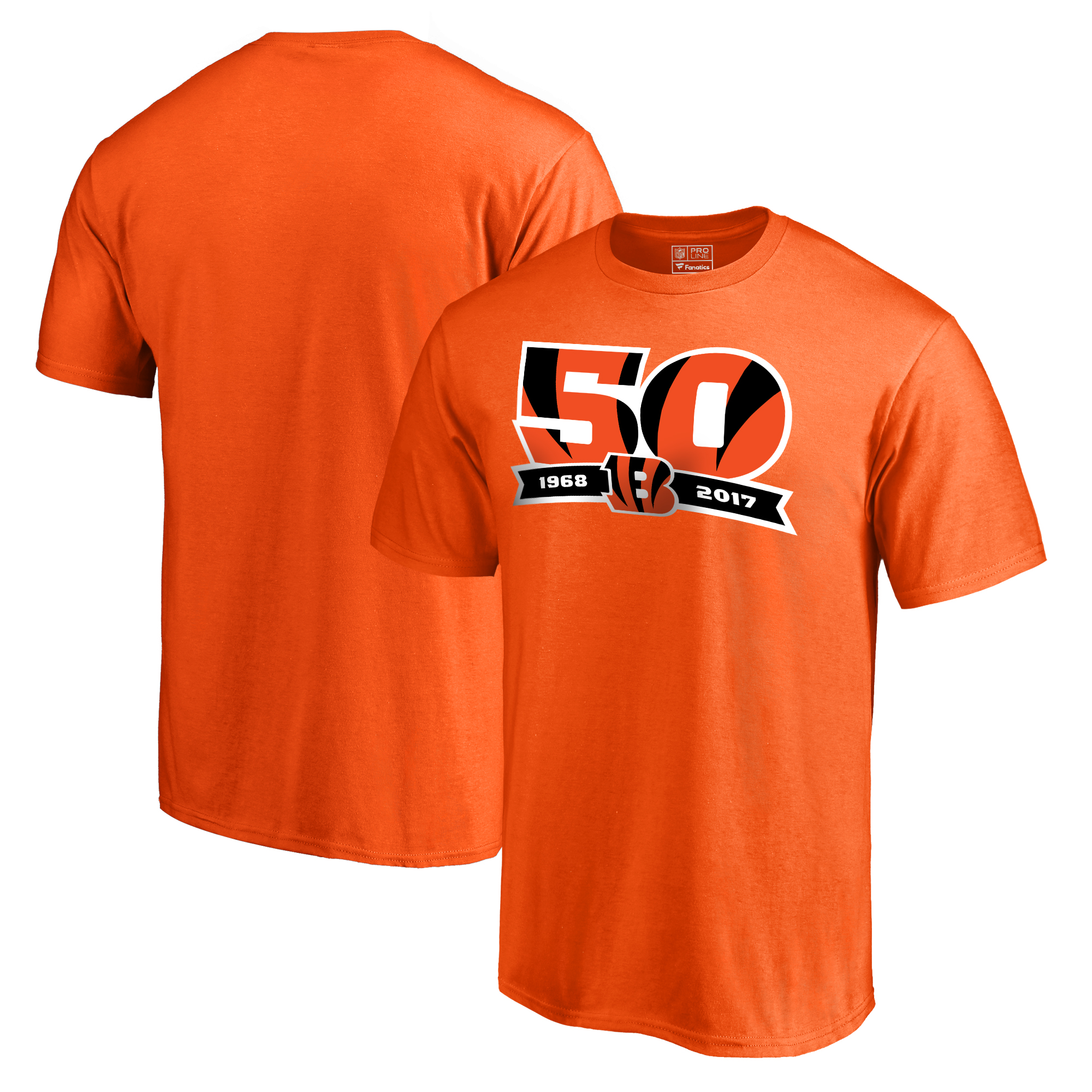 Cincinnati Bengals NFL Pro Line by Fanatics Branded 50th Anniversary T-Shirt - Orange