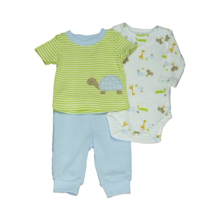 Carters Infant Boys 3 Piece Green Striped Turtle T Shirt