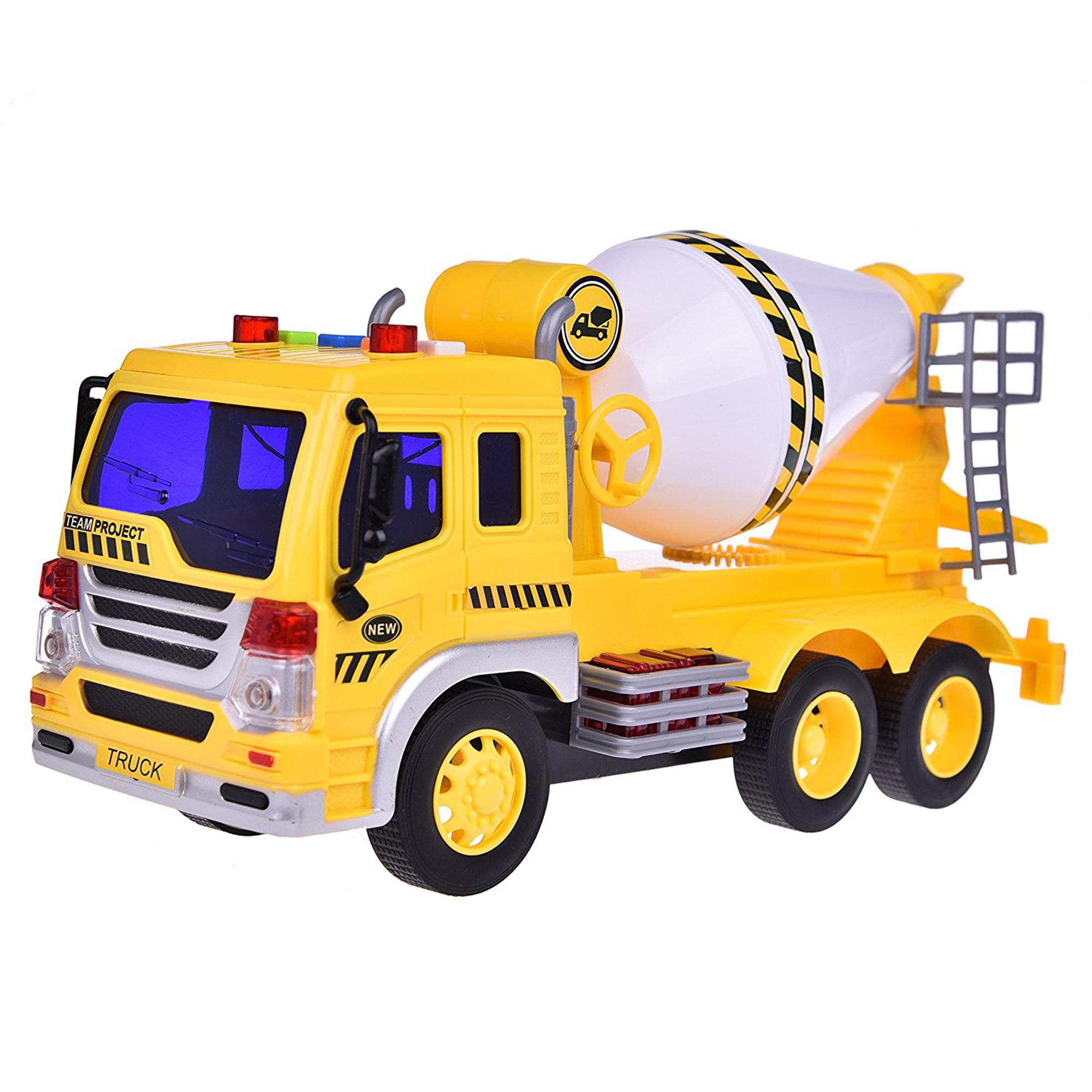 Cement Truck Car Toy for Boys Chrismas Gift Friction Powered Yellow and White Builder Machine Car 1:16 With Light and Music Six Wheels with Batteries F-36