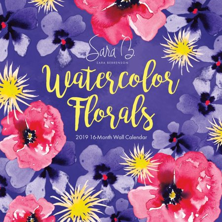 2019 watercolor florals 2019 wall calendar flower art by leap year publishing l