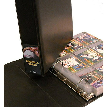 Baseball Card Collector Album With 25 Pages Black Ball In Glove Design