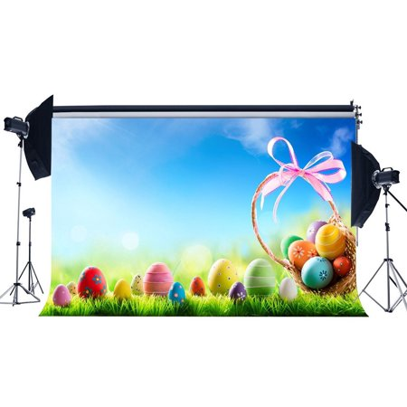 GreenDecor Polyster 7x5ft Easter Backdrop Colorful Eggs Basket Green Grass Field Blue Sky White Cloud Sunshine Pink Ribbon Spring Frohe Ostern Photography Background Kids Adults Photo Studio Props