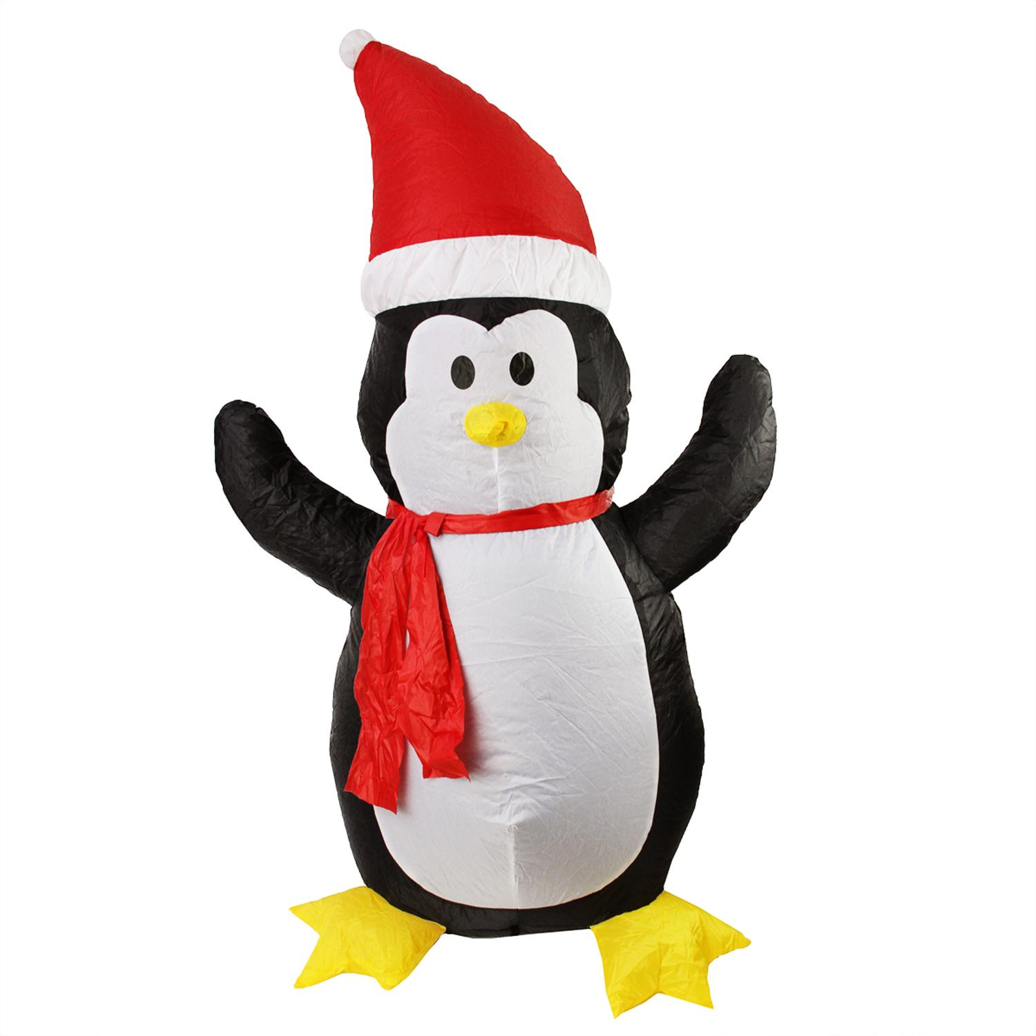 4' Inflatable Lighted Penguin with Santa Hat Christmas Yard Art Decoration